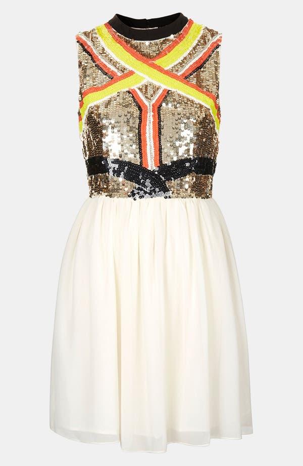 Alternate Image 1 Selected - Topshop Sequin Panel Skater Dress