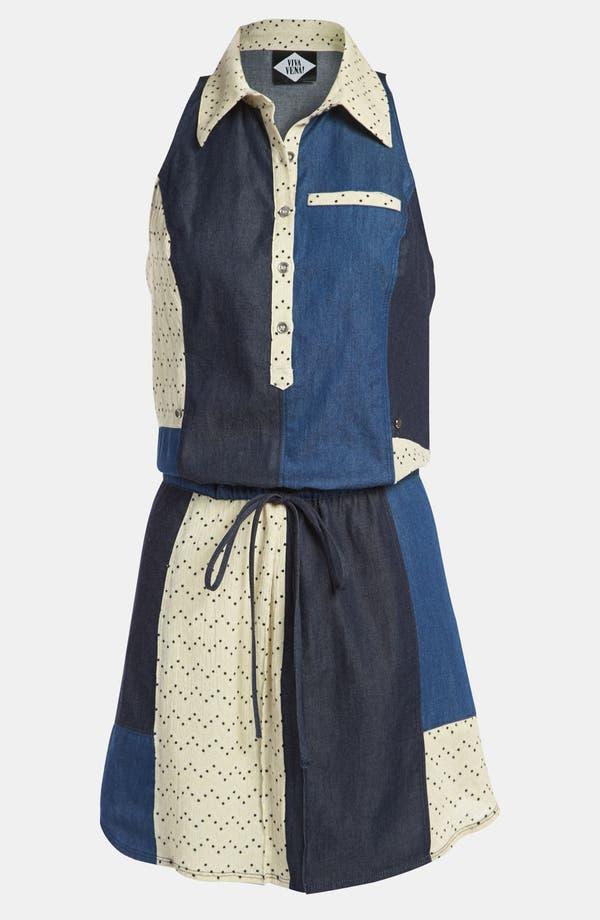 Main Image - Viva Vena! 'Chinati' Patchwork Gauze & Chambray Dress