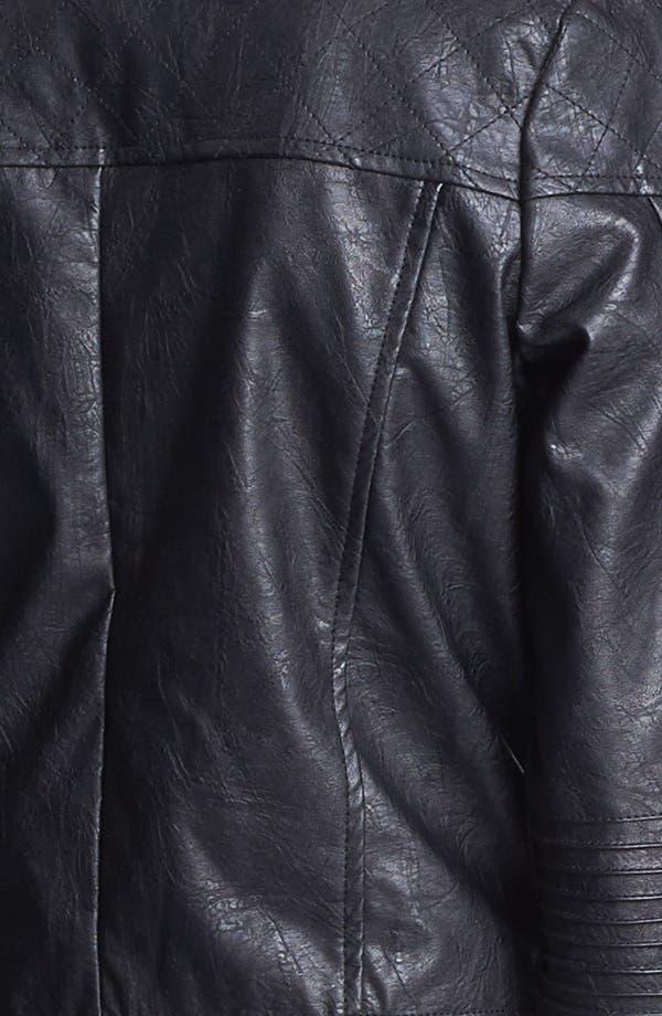 Alternate Image 4  - Jou Jou Studded Faux Leather Crop Moto Jacket (Juniors)