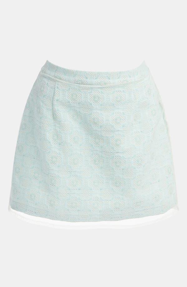 Alternate Image 2  - Topshop Mesh Overlay Jacquard Miniskirt
