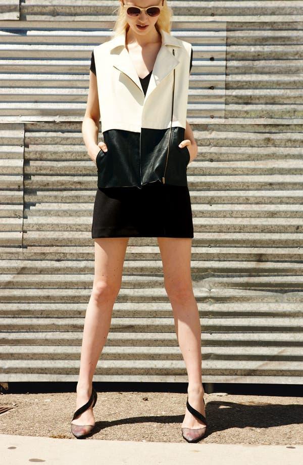 Main Image - Leith Shift Dress & ASTR Faux Leather Vest