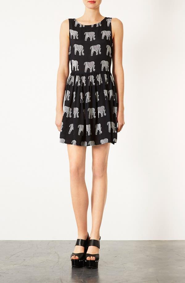 Main Image - Topshop Ladder Back Elephant Print Dress