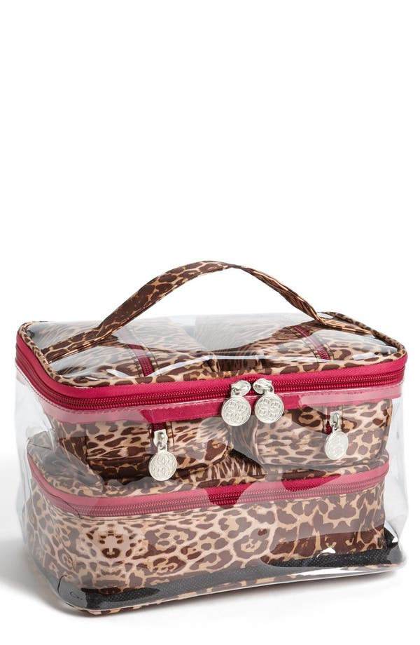 Main Image - Tri-Coastal Design 'Leopard' Print Cosmetics Case (Set of 4)