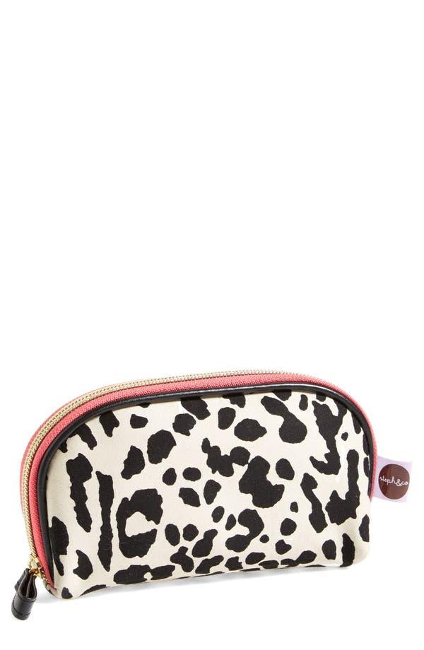 Main Image - steph&co. 'Leopard' Nylon Mini Dome Cosmetics Case (Nordstrom Exclusive)