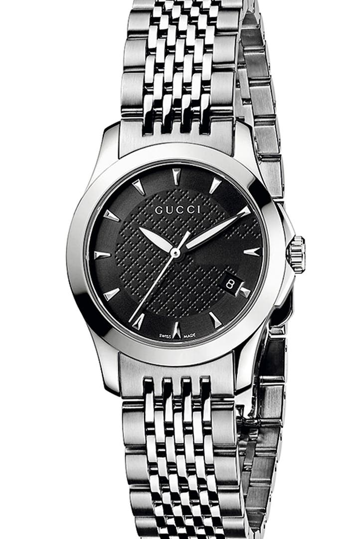 Gucci 39 g timeless 39 stainless steel bracelet watch 27mm regular retail price nordstrom for Retail price watches