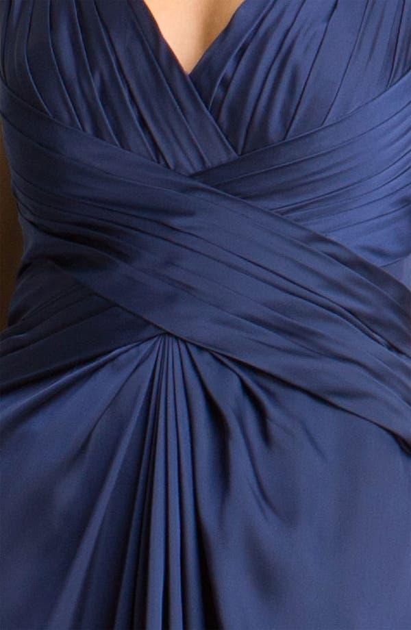 Alternate Image 3  - ML Monique Lhuillier Bridesmaids V-Neck Charmeuse Gown (Nordstrom Exclusive)