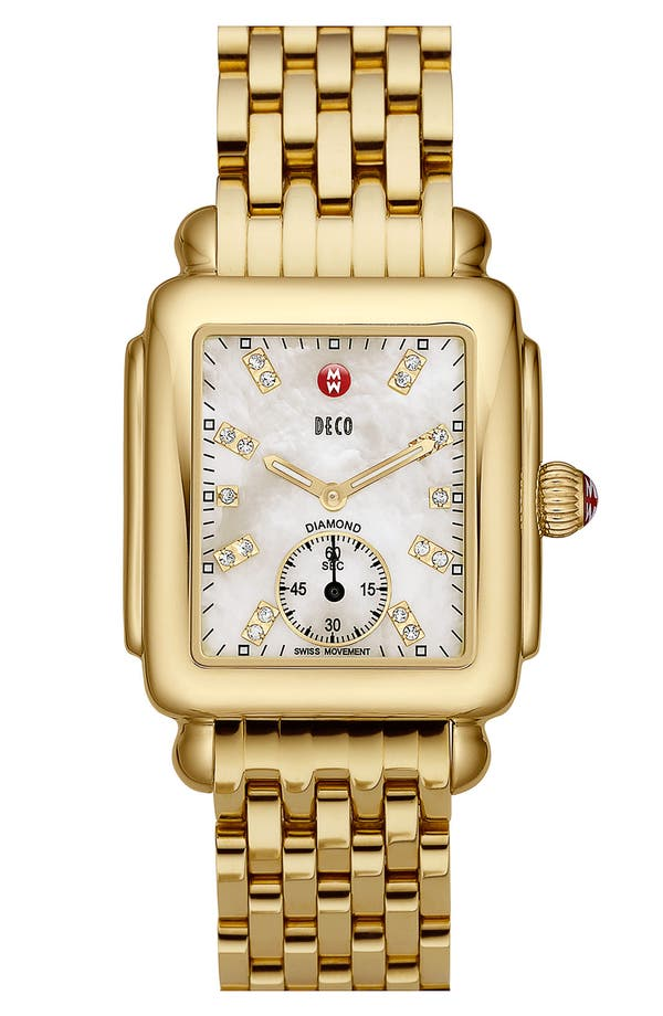 Alternate Image 2  - MICHELE Deco 16 Diamond Dial Gold Watch Head, 29mm x 31mm