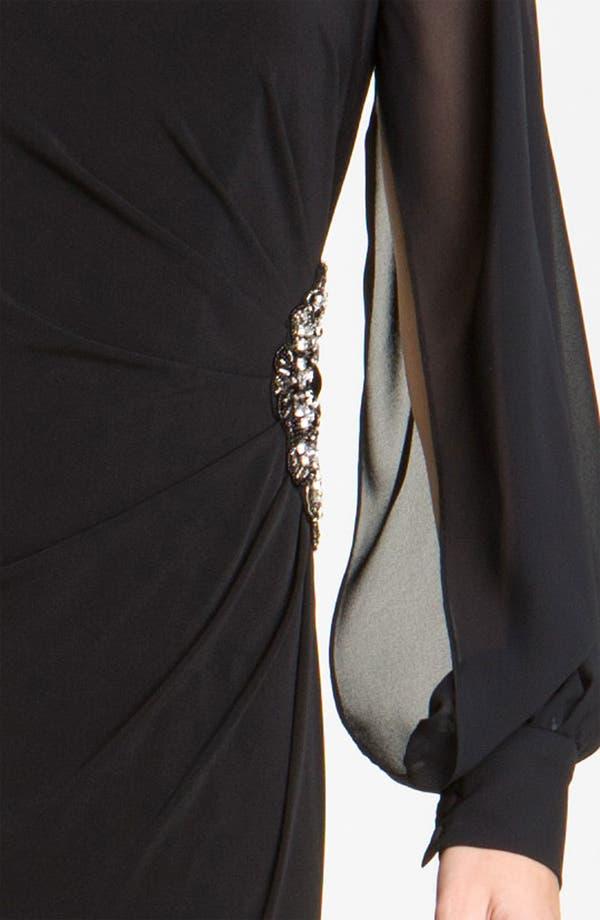 Alternate Image 3  - Eliza J Chiffon Sleeve Jersey Gown