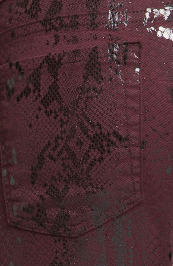 Alternate Image 3  - 7 For All Mankind® 'The Skinny' Print Stretch Jeans (Burgundy Snake)
