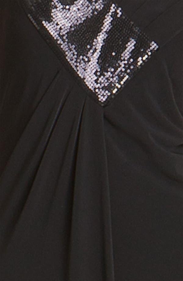 Alternate Image 3  - Calvin Klein Sequin Trim V-Neck Jersey Gown