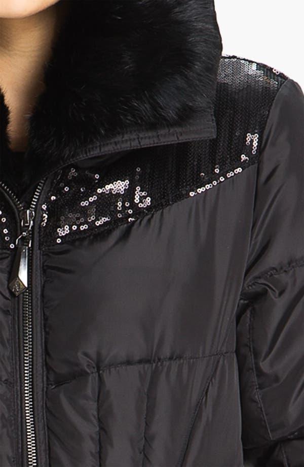 Alternate Image 3  - Sam Edelman Sequin & Genuine Rabbit Fur Trim Quilted Coat