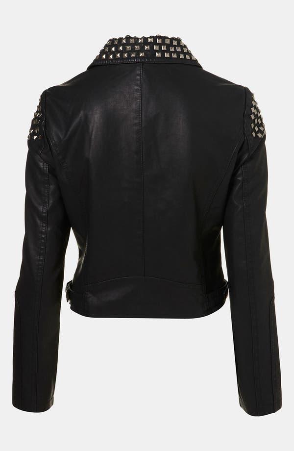 Alternate Image 2  - Topshop Studded Faux Leather Biker Jacket