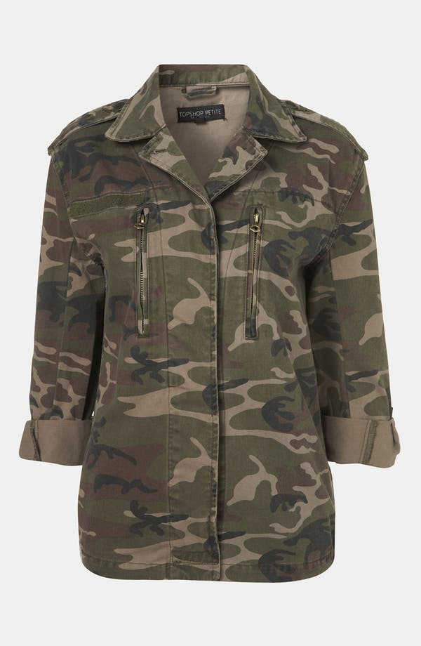 Alternate Image 1 Selected - Topshop Studded Camo Jacket (Petite)