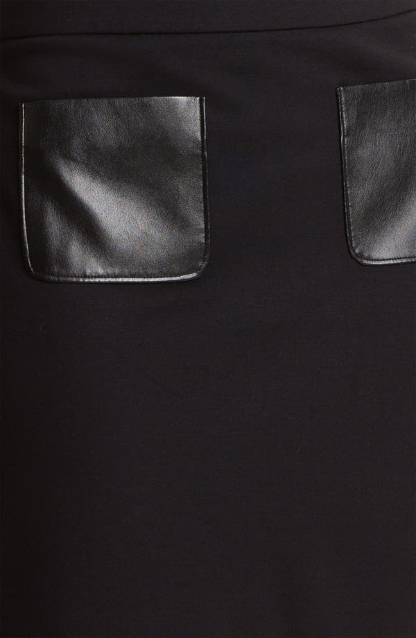 Alternate Image 3  - Halogen® Faux Leather Trim Ponte Skirt (Petite)