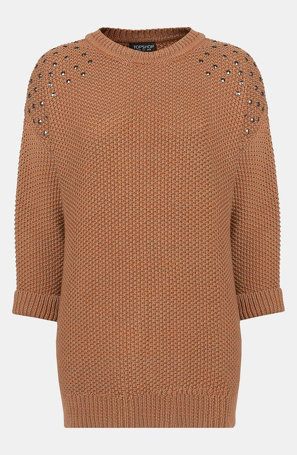 Alternate Image 1 Selected - Topshop Studded Shoulder Tunic Sweater