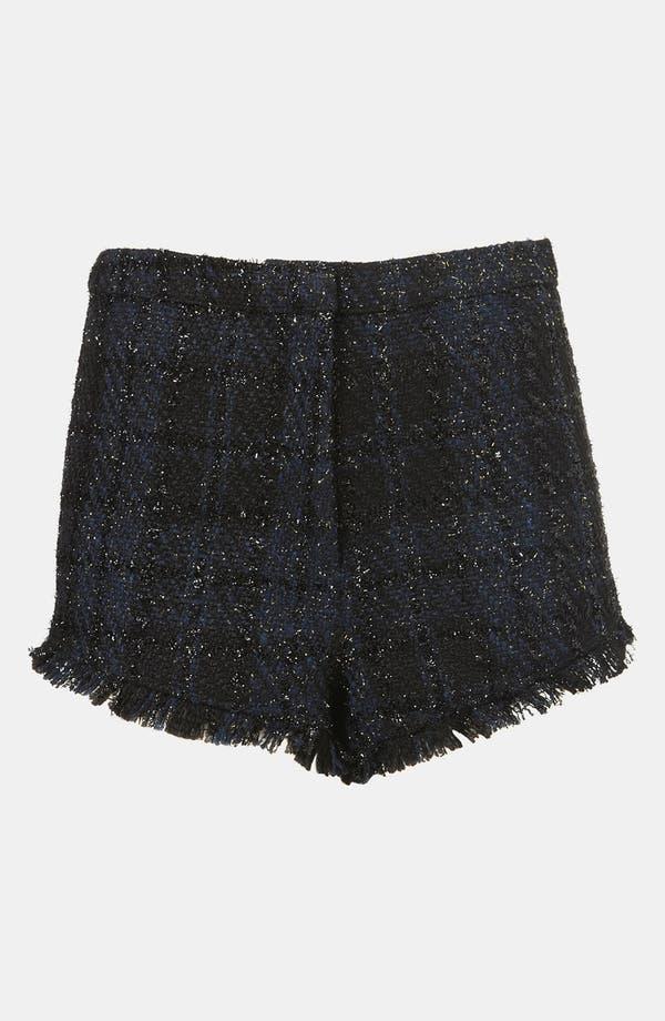 Main Image - Topshop Metallic Fringe Bouclé Shorts