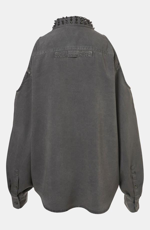 Alternate Image 2  - Topshop Studded Collar Cutout Army Shirt