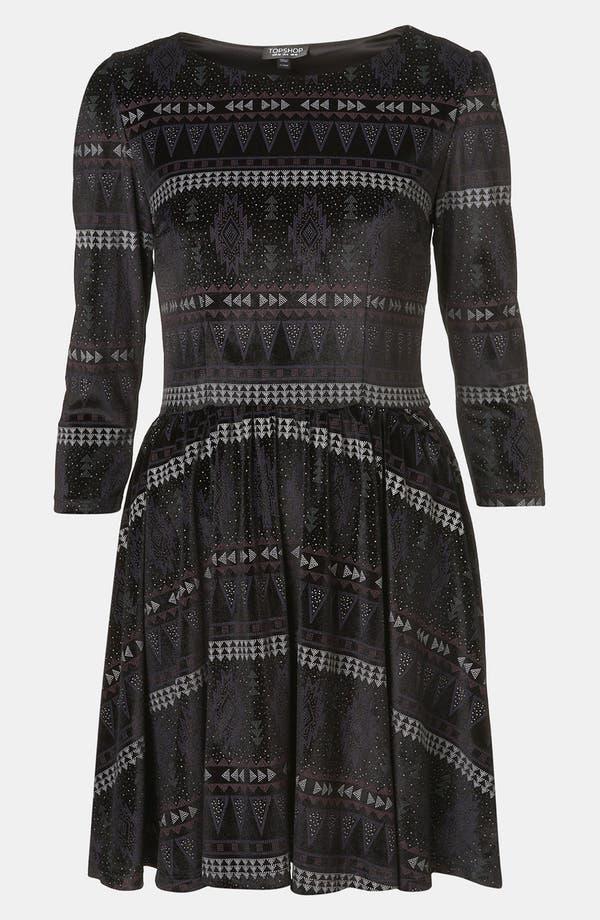 Main Image - Topshop Aztec Print Velvet Skater Dress