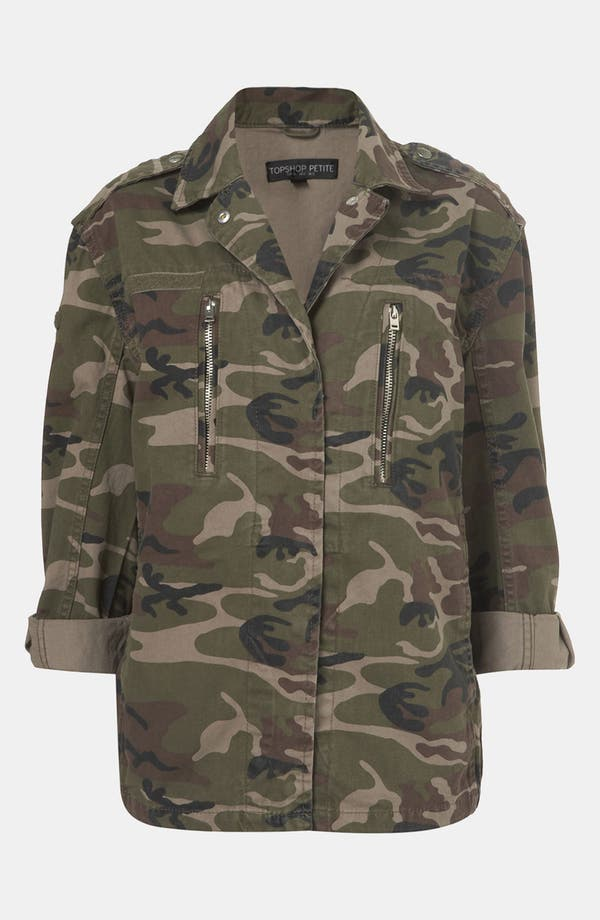 Alternate Image 1 Selected - Topshop Camo Jacket (Petite)