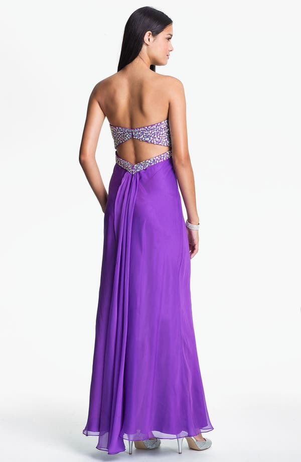 Alternate Image 2  - Faviana Embellished Strapless Chiffon Gown (Online Only)