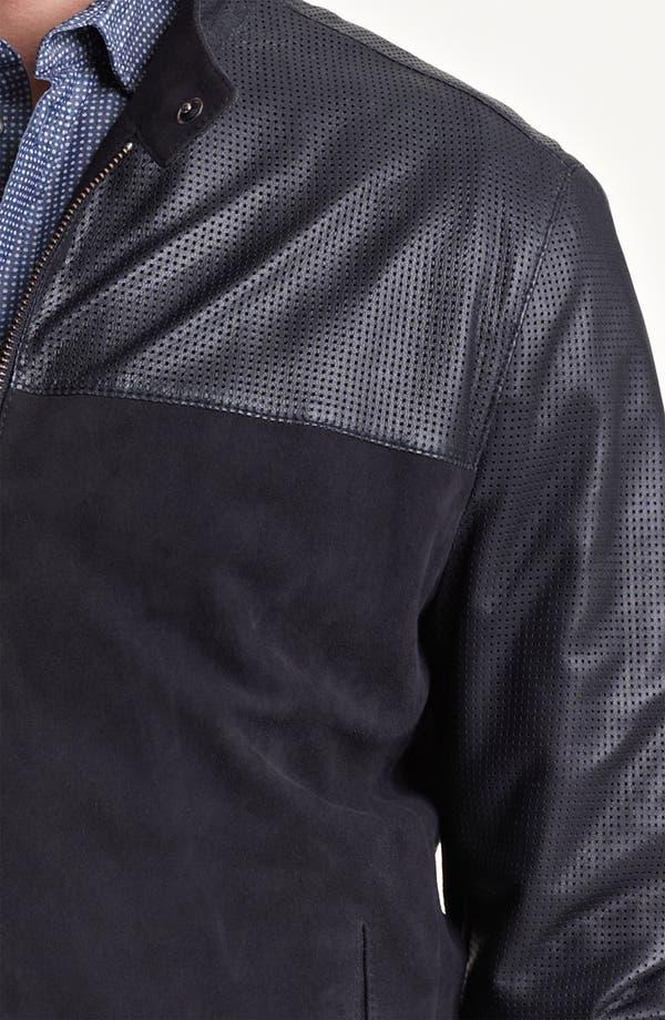 Alternate Image 3  - Armani Collezioni Perforated Lambskin Leather Jacket