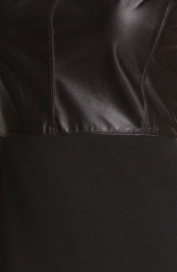 Alternate Image 3  - St. John Collection Nappa Leather & Milano Knit Dress