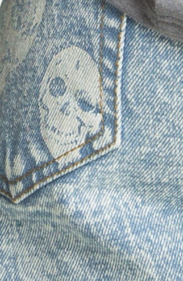 Alternate Image 3  - Fire Bleached Skull High Waist Denim Cutoffs (Juniors)