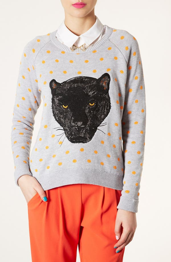 Alternate Image 1 Selected - Topshop Panther Motif Sweater