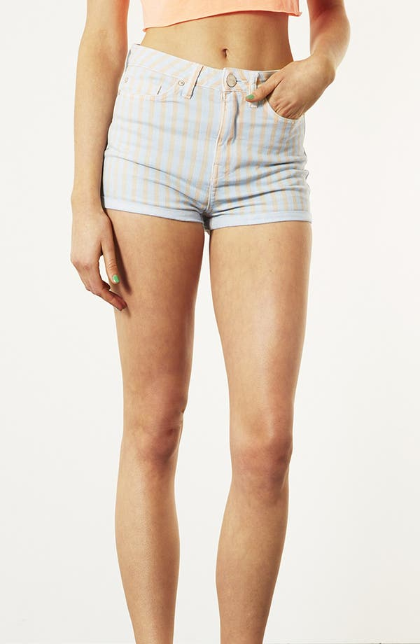 Main Image - Topshop Moto 'Poppy' Overdyed Stripe Shorts