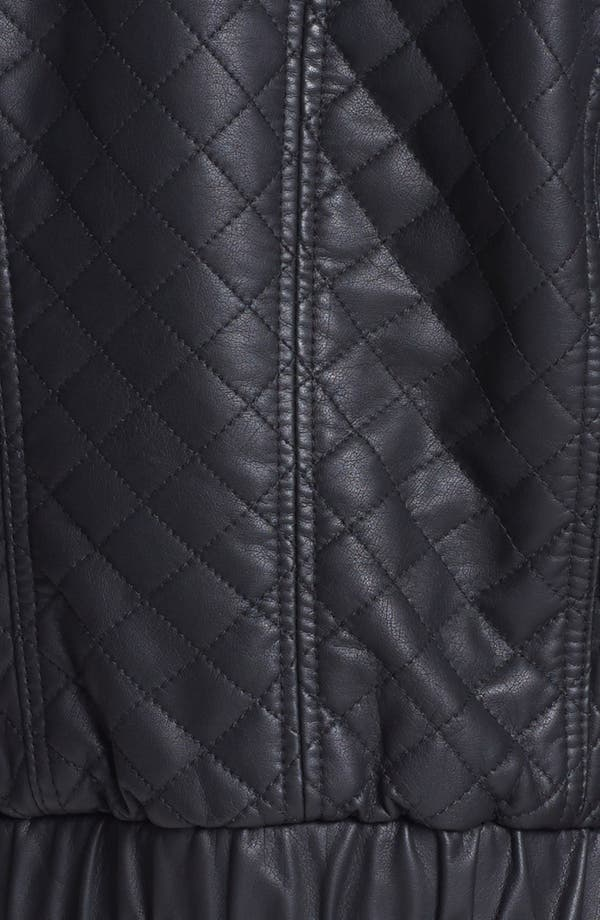 Alternate Image 3  - Collection B Quilted Faux Leather Bomber Jacket (Juniors)