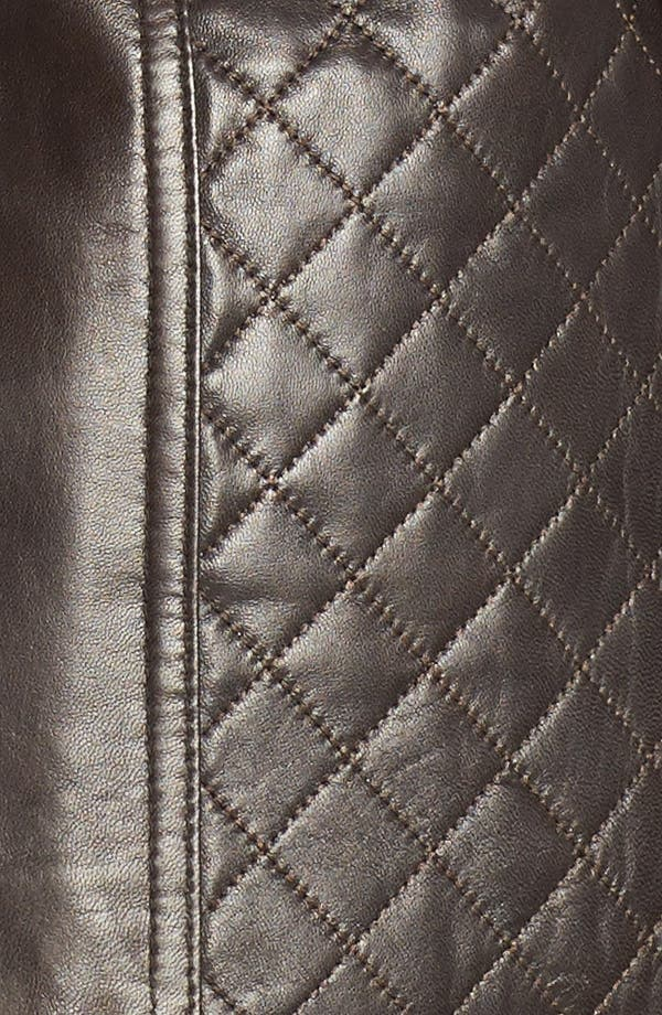 Alternate Image 3  - Ellen Tracy Quilted Trim Leather Jacket (Plus Size)