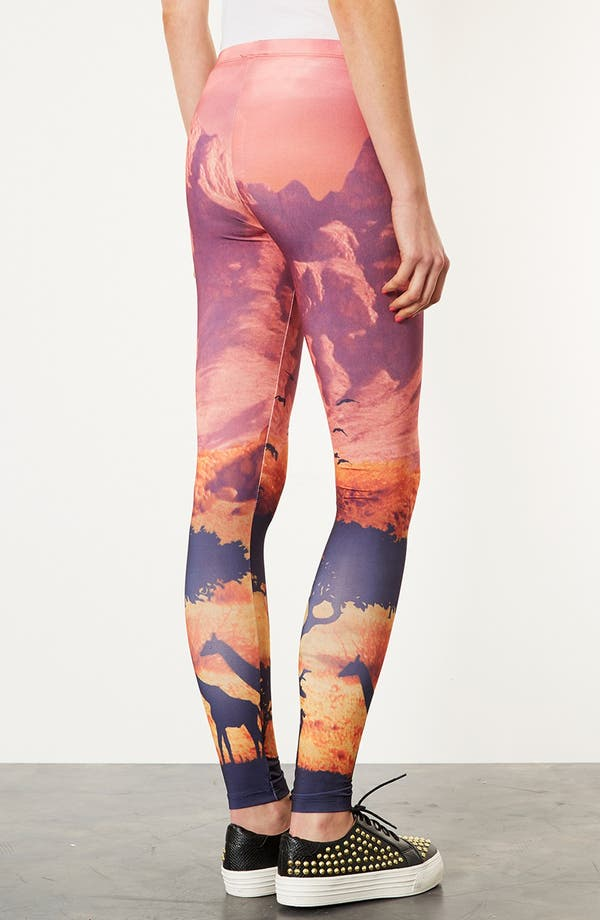 Alternate Image 2  - Topshop 'Giraffe Scene' Print Scuba Leggings