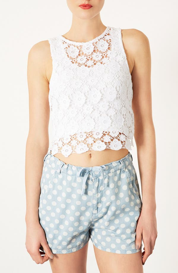 Alternate Image 1 Selected - Topshop Crochet Crop Top