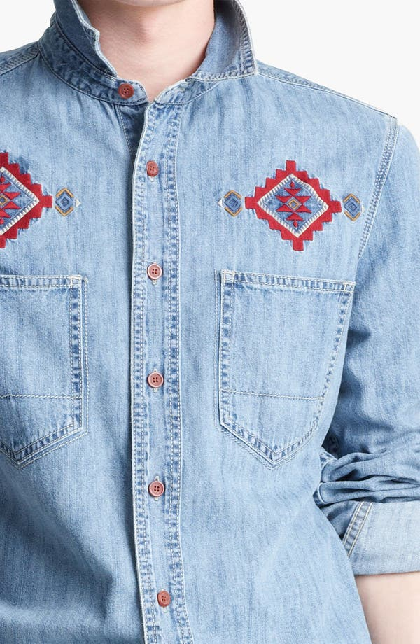 Alternate Image 3  - Topman Embroidered Denim Shirt