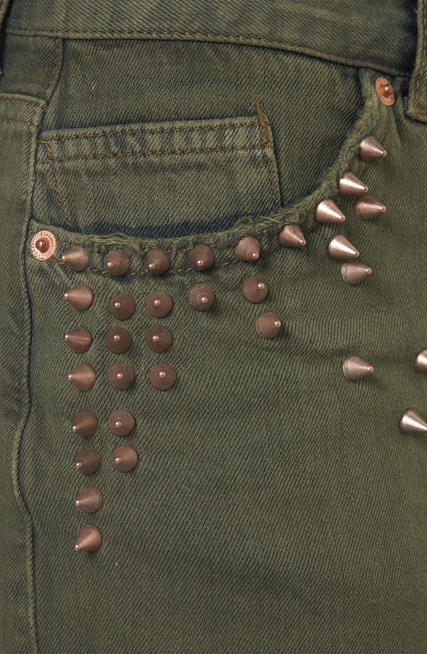 Alternate Image 4  - Topshop Moto Studded Cutoff Denim Shorts