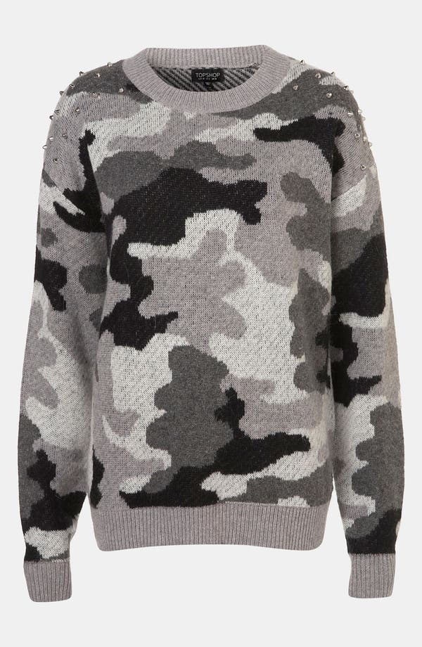 Alternate Image 1 Selected - Topshop Studded Camouflage Sweater