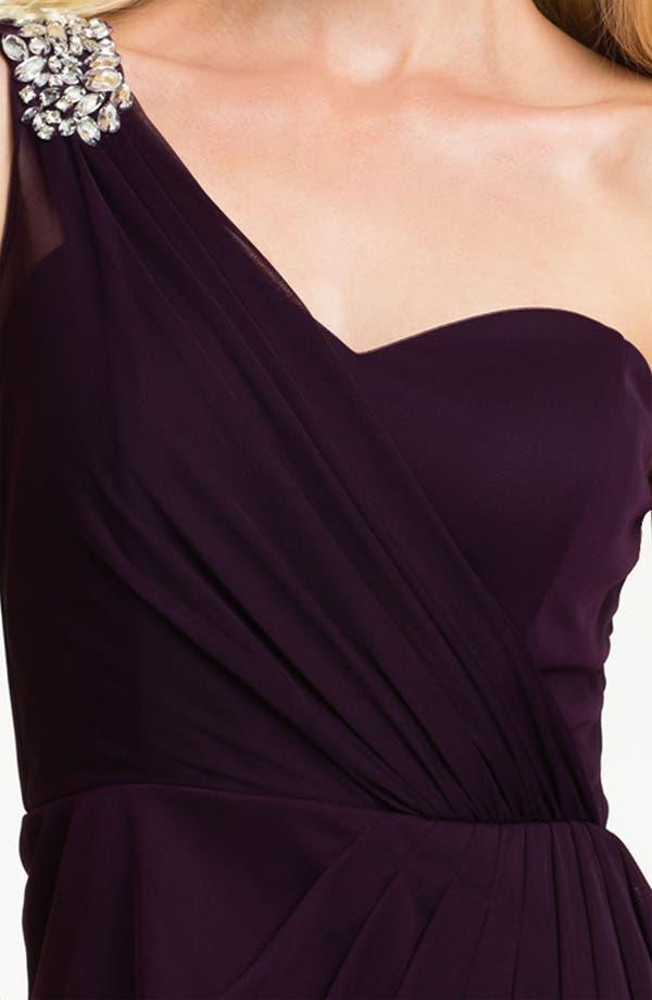 Alternate Image 3  - Xscape Pleated One Shoulder Mesh Dress (Petite)