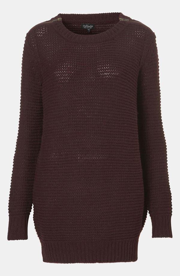 Main Image - Topshop Zip Shoulder Textured Knit Sweater