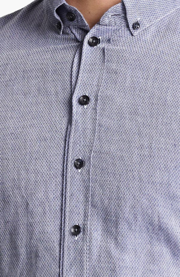 Alternate Image 3  - Armani Collezioni Bird's Eye Cotton & Flax Sport Shirt