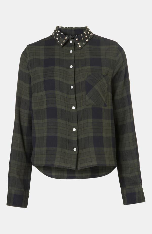 Alternate Image 1 Selected - Topshop Stud Collar Plaid Shirt