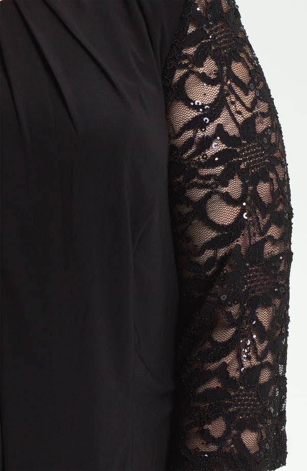 Alternate Image 3  - Alex Evenings Lace Sleeve Jersey Twinset (Plus)