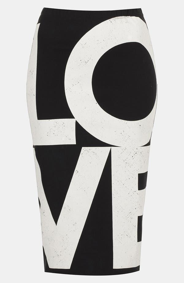Alternate Image 1 Selected - Topshop 'Love' Print Midi Skirt