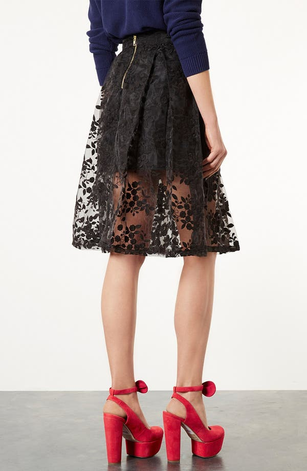 Alternate Image 2  - Topshop Floral Embroidered Organza Skirt