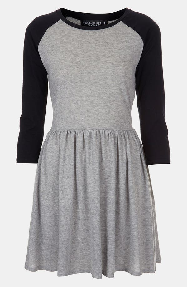 Main Image - Topshop Raglan Sleeve Skater Dress (Petite)