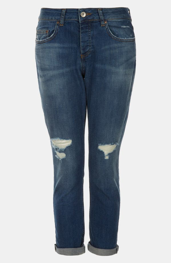 Alternate Image 1 Selected - Topshop Moto 'Lacey' Boyfriend Jeans (Midstone) (Petite)
