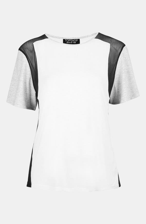 Alternate Image 1 Selected - Topshop Mesh Insert Block Tee