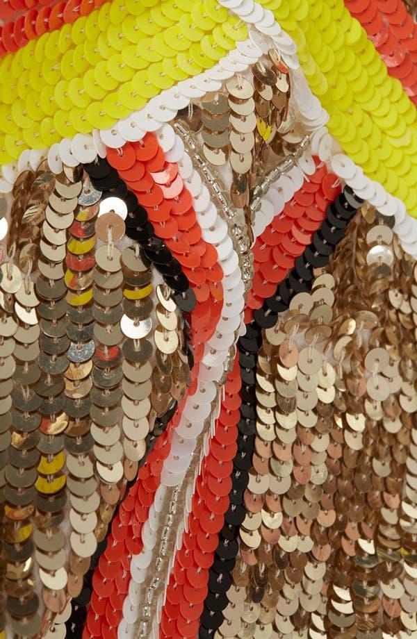 Alternate Image 4  - Topshop Sequin Panel Skater Dress