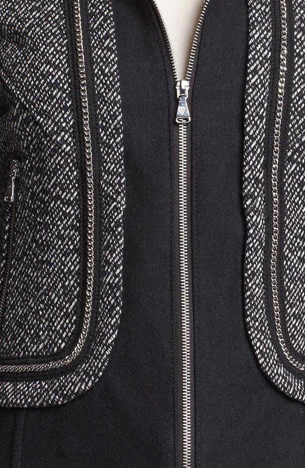 Alternate Image 3  - GUESS Zip Front Mixed Media Jacket (Regular & Petite)