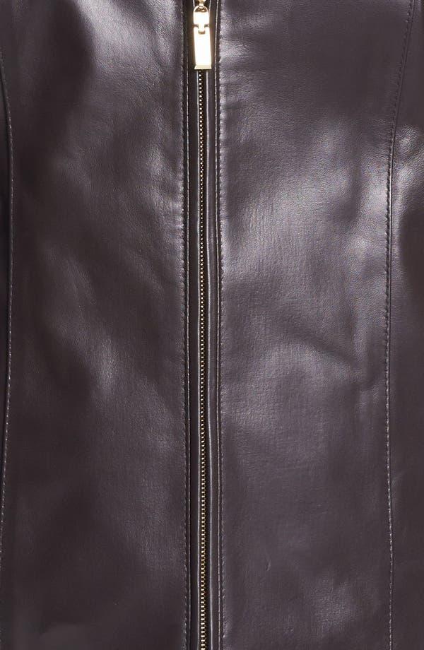 Alternate Image 3  - Ellen Tracy Zip Front Leather Scuba Jacket (Plus Size)