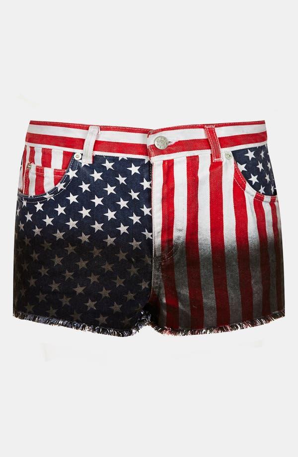 Alternate Image 3  - Topshop Moto Flag Dip Dye Shorts